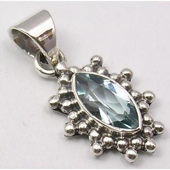 Pandantiv din Argint cu Topaz Albastru 2,4 cm