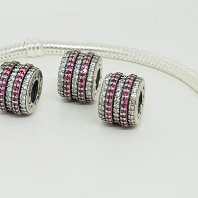 Talisman Argint 925 rodiat Cerc cu pietricele roz si albe Simulated Diamond