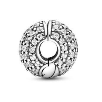 Talisman Argint 925 rodiat Clips cu pietricele Simulated Diamond