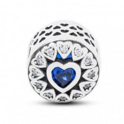 Talisman Argint 925 rodiat Inima cu zirconiu albastru