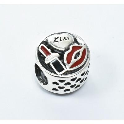 Talisman Argint 925 rodiat Red lips Kiss