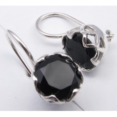925 Silver Black Onyx Earrings 1.9CM