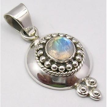 925 Silver Rainbow Moonstone Pendant 3.6CM