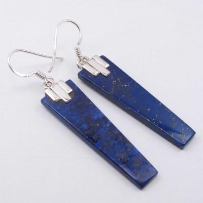 Cercei Argint 925 cu Lapis Lazuli, 5.3 cm lungime