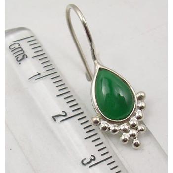 Cercei Argint 925 cu Onix Verde, 2.8 cm lungime