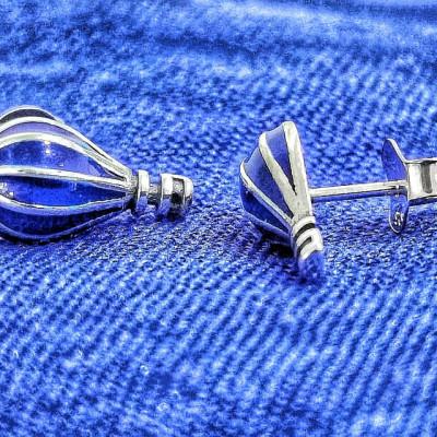 Cercei Argint 925 rodiat Balon cu aer cald si inimioara
