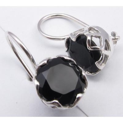 Cercei Argint cu Onix Negru 1.9 cm