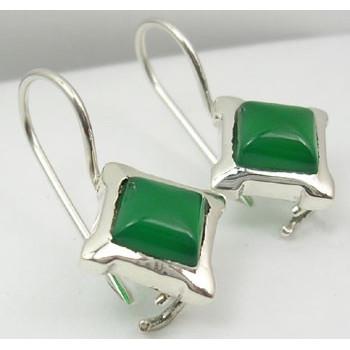 Cercei Argint cu Onix Verde (2,5 cm)