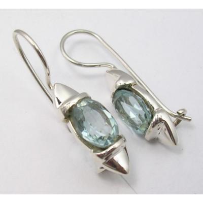 Cercei Argint cu Topaz Albastru (2.7 cm)