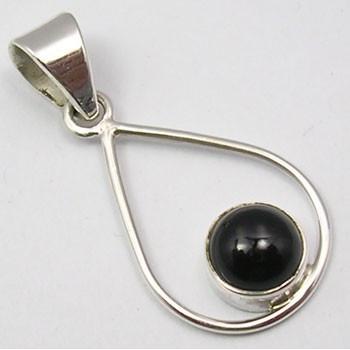 Pandantiv din Argint cu Onix Negru 3,2 cm