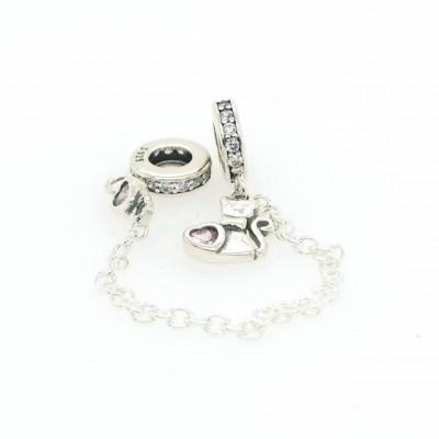 Talisman Argint 925 rodiat De siguranta cu pisicuta roz