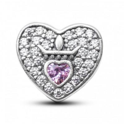 Talisman Argint 925 rodiat Inima cu Zirconiu Roz si Alb