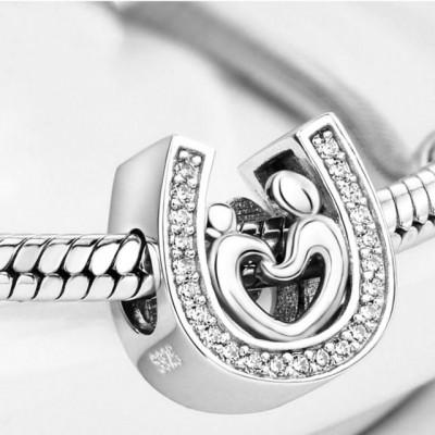 Talisman Argint 925 rodiat Potcoava cu inima Simulated Diamond