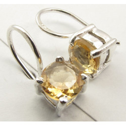 925 Silver Citrine Earrings 1.6CM