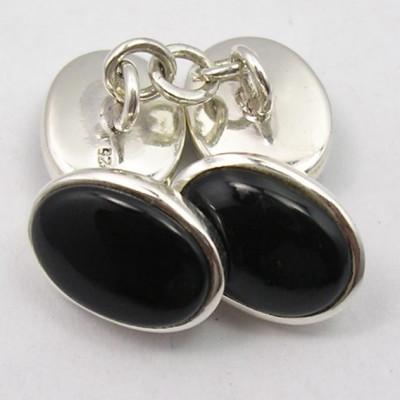 Butoni din Argint cu Onix Negru