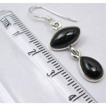 Cercei Argint 925 cu Onix Negru, 3.8 cm lungime