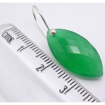 Cercei Argint 925 cu Onix Verde, 3.2 cm lungime
