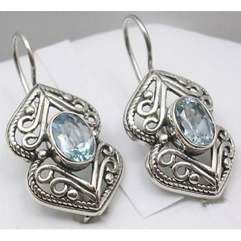 Cercei Argint 925 cu Topaz Albastru, 3 cm lungime