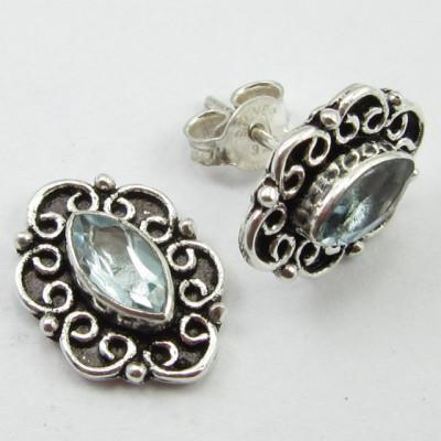 Cercei Argint cu Topaz Albastru 1,5 cm