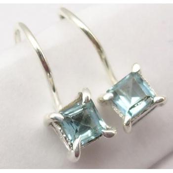 Cercei Argint cu Topaz Albastru (1.6 cm)
