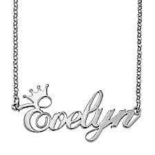 Lantisor Nume/Cuvant+ Coronita - Argint 925 Rodiat/ Placat cu Aur 24 K