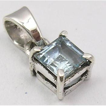 Pandantiv din Argint cu Topaz Albastru 1,4 cm