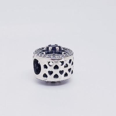 Talisman Argint 925 rodiat Blue flower Simulated Diamond