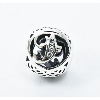 Talisman Argint 925 rodiat cu litera F si zirconiu- Simulated Diamond