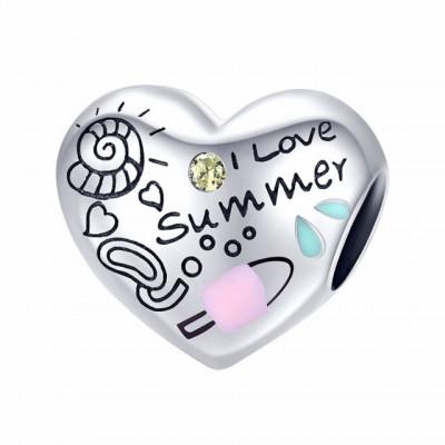 Talisman Argint 925 rodiat I love summer Simulated Diamond