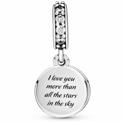 Talisman Argint 925 rodiat I love you more than all the stars in the sky Simulated Diamond