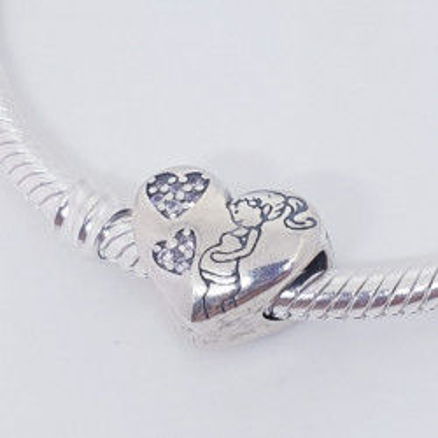 Talisman Argint 925 rodiat Inima & Mama in devenire Simulated Diamond