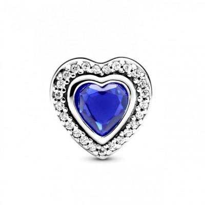 Talisman Argint 925 rodiat Inimioara cu piatra albastra Simulated Diamond