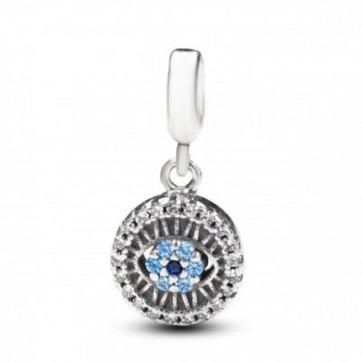 Talisman Argint 925 rodiat Ochiul Shiva cu Zirconiu Albastru- Simulated Diamond