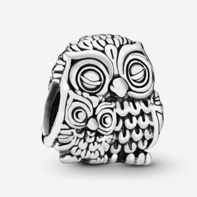 Talisman Argint 925 rodiat Owl Familly