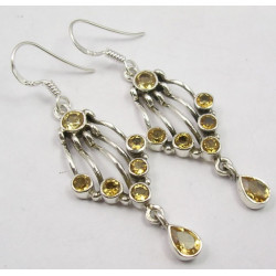 925 Silver Citrine Earrings 5.2CM