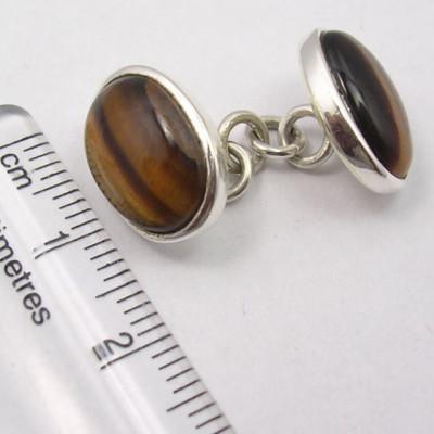 Butoni Argint 925 cu Ochi de Tigru 1.4 cm Lungime