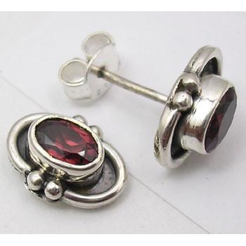 Cercei Argint 925 cu Garnet,1 cm lungime