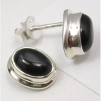 Cercei Argint 925 cu Onix Negru, 1.2 cm lungime
