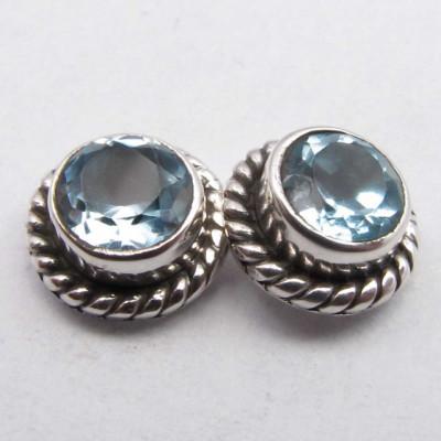 Cercei Argint 925 cu Topaz Albastru, 0.8 cm lungime