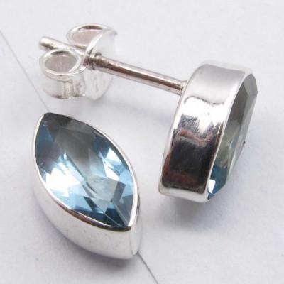 Cercei Argint 925 cu Topaz Albastru, 1.1 cm lungime