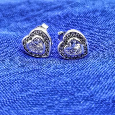 Cercei Argint 925 rodiat cu Inima si cristale albe