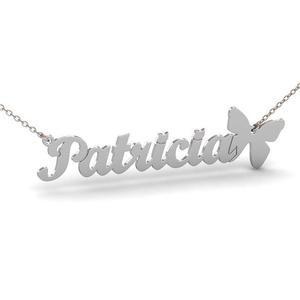 Lantisor Nume/Cuvant+ Fluturas - Argint 925 Rodiat/ Placat cu Aur 24 K
