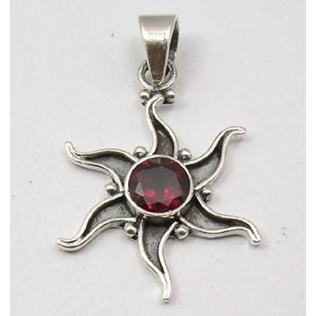 Pandativ Argint 925 cu Garnet 3.5 cm lungime