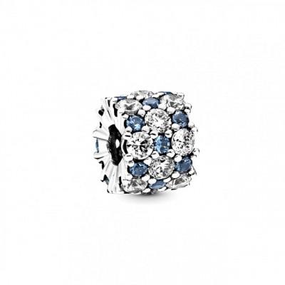 Talisman Argint 925 rodiat Cerc cu pietricele albastre si albe Simulated Diamond