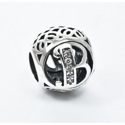 Talisman Argint 925 rodiat cu litera B si zorconiu-Simulated Diamond