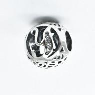 Talisman Argint 925 rodiat cu litera Y si zirconiu-Simulated Diamond
