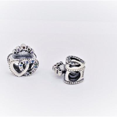 Talisman Argint 925 rodiat Doua inimi si o coronita Simulated Diamond