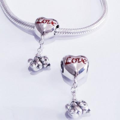 Talisman Argint 925 rodiat Love Bear Simulated Diamond