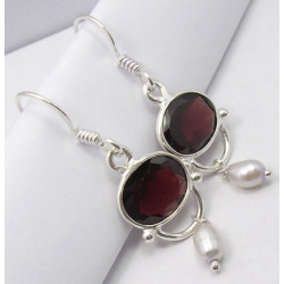 925 Silver Garnet Earrings 3.9CM