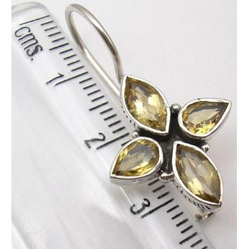 Cercei Argint 925 cu Citrin, 3 cm lungime
